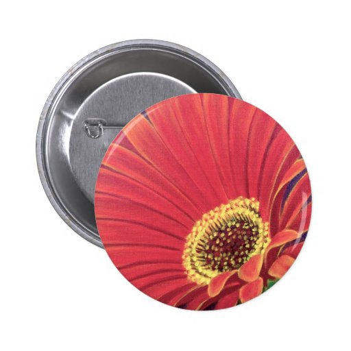 Red Daisy Flower Painting - Multi Pinback Button