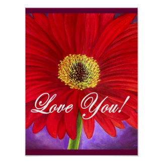 Red Daisy Flower Painting - Multi Poster