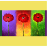 Red Daisy Flower Painting - Multi Standing Photo Sculpture