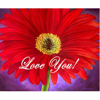 Red Daisy Flower Painting - Multi Statuette