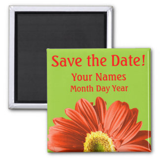 Red Daisy Flower Save The Date Custom 2 Inch Square Magnet