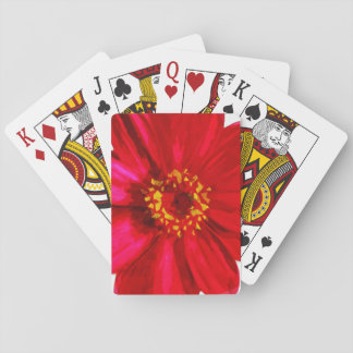 Red Daisy Flower With Yellow Pollen Abstract Card Deck