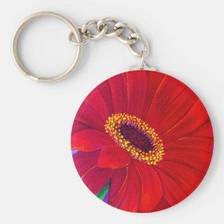 Red Daisy Gerber Flower Painting Art - Multi Key Chain