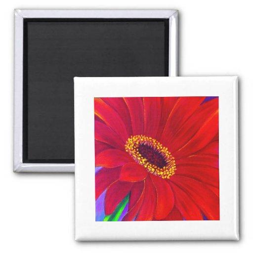 Red Daisy Gerber Flower Painting Art - Multi Refrigerator Magnets