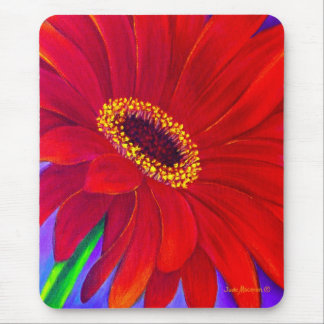 Red Daisy Gerber Flower Painting Art - Multi Mouse Mat