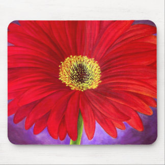 Red Daisy Gerber Flower Painting Art - Multi Mouse Pads