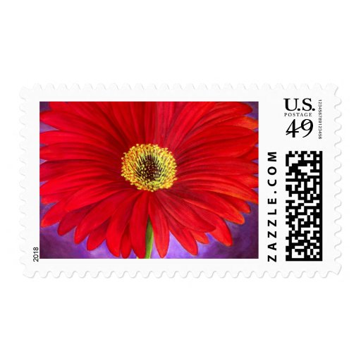 Red Daisy Gerber Flower Painting Art - Multi Stamps