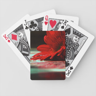 Red Daisy Gerbera Flower Bicycle Playing Cards