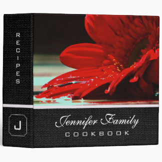 Red Daisy Gerbera Flower Family Recipes Binder