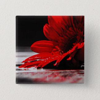 Red Daisy Gerbera Flower Pinback Button