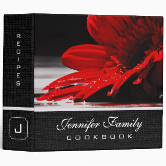 Red Daisy Gerbera Flowers Family Recipes Binder