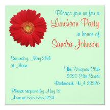 Red Daisy Luncheon Party 5.25x5.25 Square Paper Invitation Card