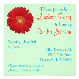 Red Daisy Luncheon Party Invitations