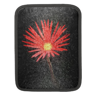 Red Daisy on black background | Abstract Art Sleeve For iPads