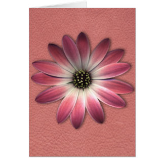 Red Daisy on Coral Leather Print Greeting Card