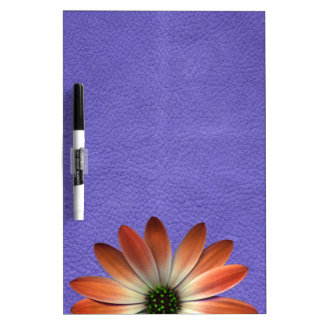 Red Daisy on Coral Leather Print Dry-Erase Whiteboards