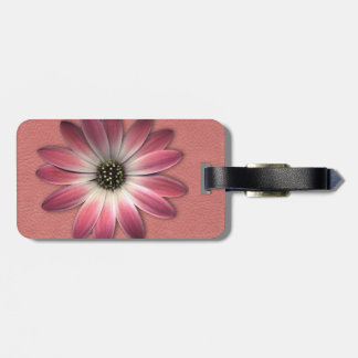 Red Daisy on Coral Leather Print Luggage Tag