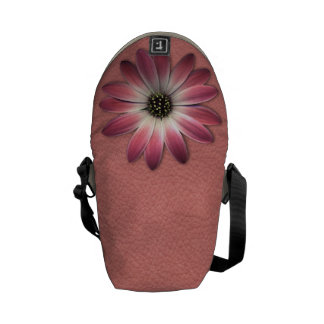 Red Daisy on Coral Leather Print Messenger Bag