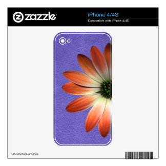 Red Daisy on Coral Leather Print Skins For iPhone 4