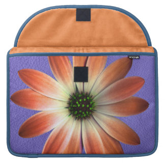 Red Daisy on Coral Leather Print Sleeve For MacBook Pro