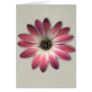Red Daisy on Stone Leather Print Greeting Card