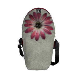 Red Daisy on Stone Leather Print Courier Bag