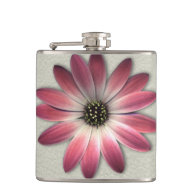 Red Daisy on Stone Leather Print Hip Flasks (<em>$33.95</em>)