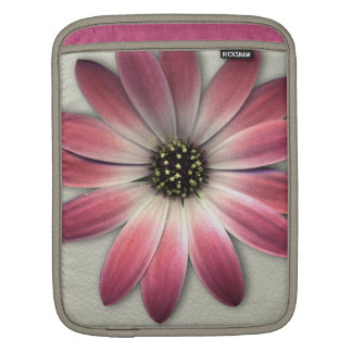 Red Daisy on Stone Leather Print iPad Sleeve