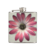 Red Daisy on Stone Leather Texture Hip Flasks (<em>$33.95</em>)
