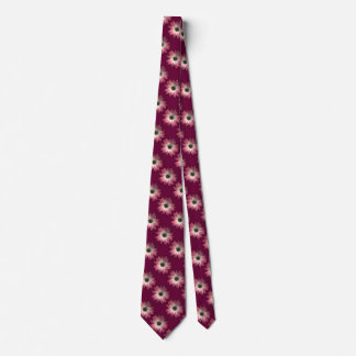 Red Daisy on Wine Leather Print Neck Tie
