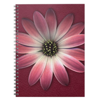 Red Daisy on Wine Leather Print Notebook