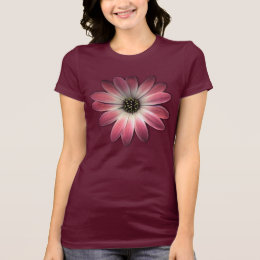 Red Daisy on Wine Leather Print T-Shirt