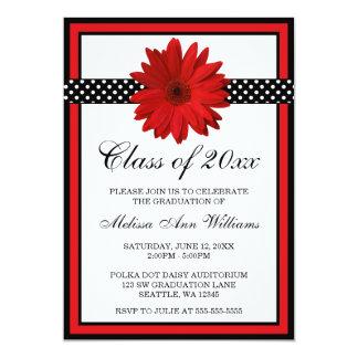 Red Daisy Polka Dots Graduation Announcement