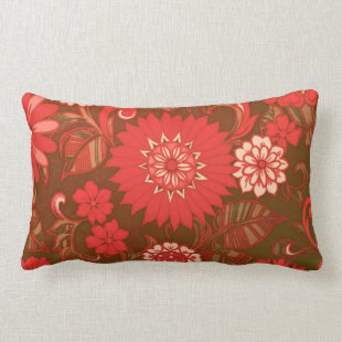 Red Daisy Print Throw Pillow