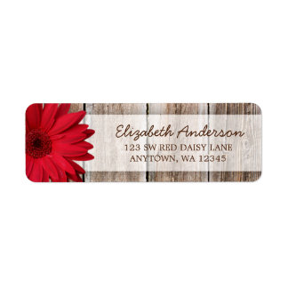 Red Daisy Rustic Barn Wood Address Labels