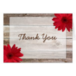 Red Daisy Rustic Barn Wood Thank You Stationery Note Card