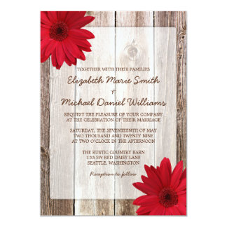 Red Daisy Rustic Barn Wood Wedding Card