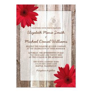 Red Daisy Rustic Barn Wood Wedding 5x7 Paper Invitation Card
