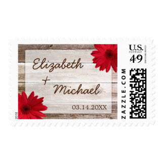 Red Daisy Rustic Barn Wood Wedding Stamps