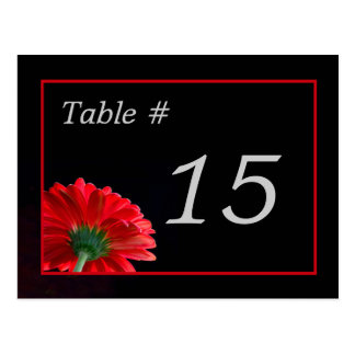 Red Daisy Table Number Card