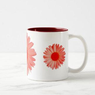 red daisy Two-Tone coffee mug