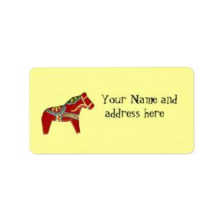Red Dala Horse Address Label