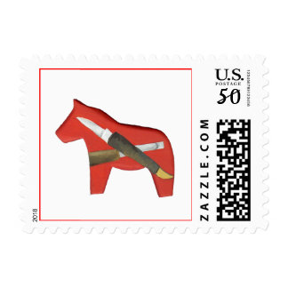 Red Dala Horse Carving Postage Stamp