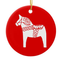 Red Dala Horse Ceramic Ornament