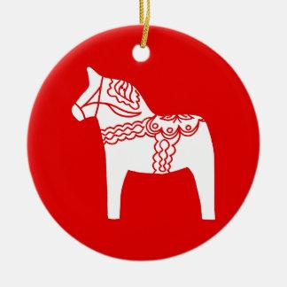 Red Dala Horse Ceramic Ornament