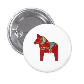 Red Dala Horse Design #13 button