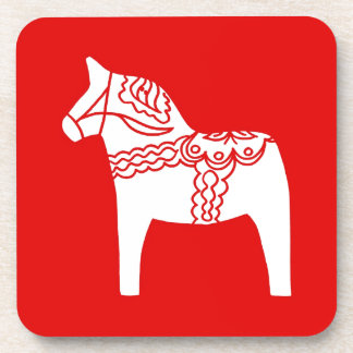 Red Dala Horse Drink Coaster