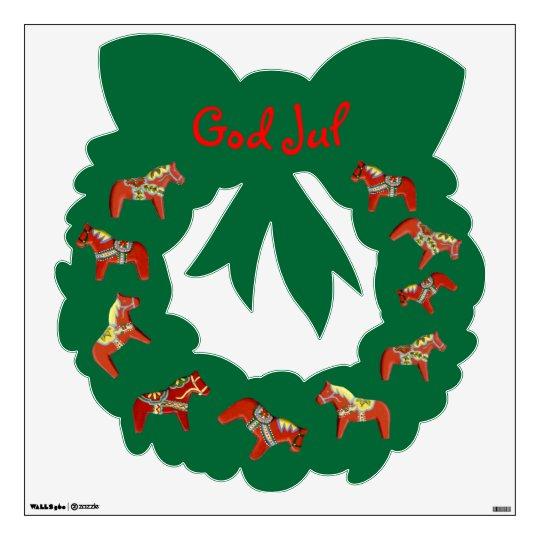 Red Dala horse God Jul wreath wall decal