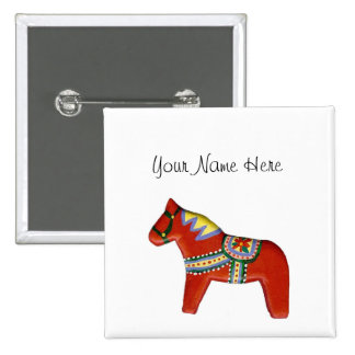 Red Dala Horse Name Tag 2 Inch Square Button