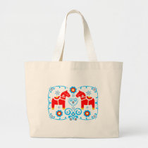 Red Dala Horses Large Tote Bag